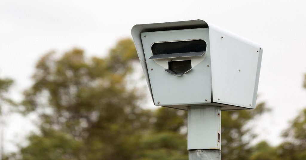 MELBOURNE/AUSTRALIA - FEBRUARY 2: Closeup of a Speed Camera / Safety Camera located on a freeway near Epping in Melbourne, Australia.